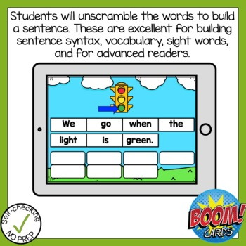 Boom Cards Long Vowel Open Syllable Sentence Scrambles