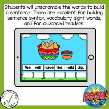 Digital Long Vowel Patterns Sentence Scrambles Boom Cards