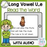 Digital Long Vowel U silent E Read the Word Boom Card