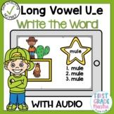 Digital Long Vowel U silent e Write the Word Boom Cards