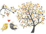 Digital Love Bird Clip Art Tree Branch Clipart Love Bird Yellow and Grey