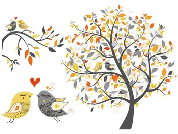 Digital Love Bird Clip Art Tree Branch Clipart Love Bird Yellow and Grey