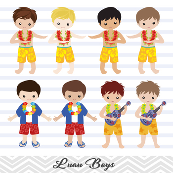 Digital Luau Boy Clip Art, Hawaii Boy Clipart, Tiki Clip Art, Hawaii Clip Art