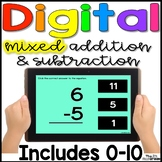 Digital MIXED Addition & Subtraction Fact Practice 0 - 10