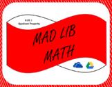 Digital Mad Lib Math Activity - Quotient Property of Exponents (8EE1)