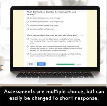 Digital Main Idea SELF-GRADING Assessments for Google Classroom