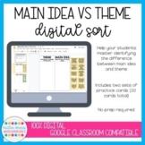 Digital Main Idea vs Theme Sort | Distance Learning