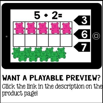 Digital Math Addition to 10 (Kindergarten Math Boom Cards)