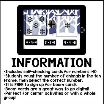 Digital Math - Addition to 10 (Winter Kindergarten Boom Cards)