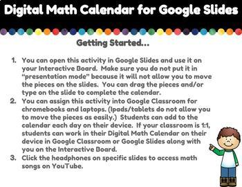Digital Math Calendar for Google Slides