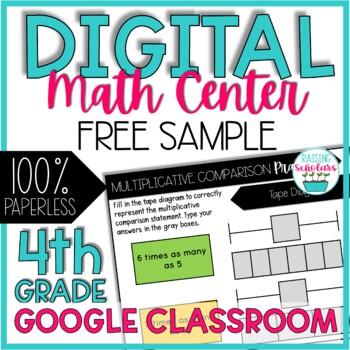 Digital Math Center 4th Grade FREE SAMPLE Google Classroom | Distance Learning