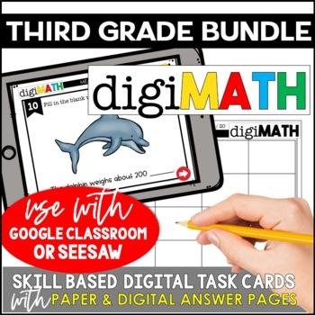Digital Math Task Cards: 3rd Grade Bundle | Distance Learning