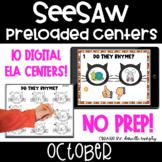 October Digital ELA Centers l SeeSaw Kindergarten Activities