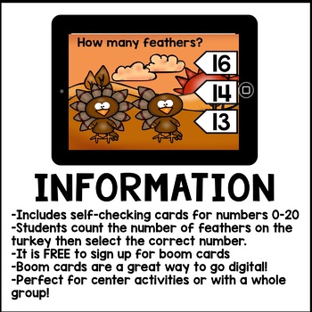 Digital Math - Counting Turkey Feathers 0-20 (Boom Cards Kindergarten)