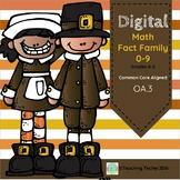 Digital Math Fact Family  0-9 Thanksgiving