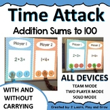 Digital Math Game Addition sums to 100 w/wo trading - timed math practice