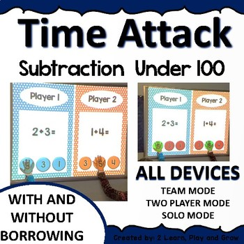Digital Math Game Time Attack Subtraction Under  100   ALL DEVICES