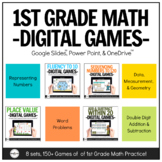 Digital Math Games for 1st Grade GROWING Bundle for Distan