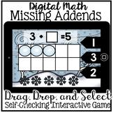 Digital Math - Missing Addend (Kindergarten Math Boom Cards)