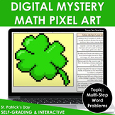 St Patrick's Day Activities Digital Math Pixel Art Mystery Picture Word Problems