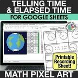 Digital Math Pixel Art - Telling Time & Elapsed Time - Goo
