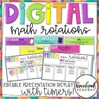 Digital Math Rotations: Editable Presentation Display with Timers!