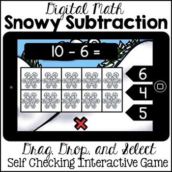 Digital Math - Subtraction to 10 (Winter Kindergarten Boom Cards)