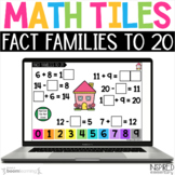 Digital Math Tiles: Fact Families to 20 Boom Cards™ {Addit
