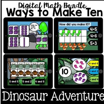 Digital Math - Ways to Make 10 Bundle - decomposing ( Kindergarten Boom Cards)