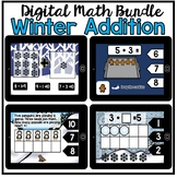 Digital Math - Winter Addition to Ten (Kindergarten Math Boom Cards)