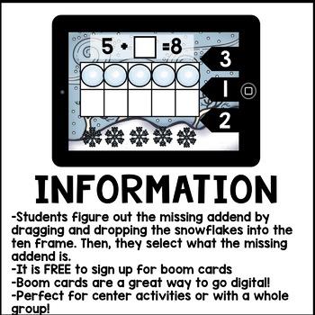 Digital Math - Winter Addition to Ten (Kindergarten Math Boom Cards)