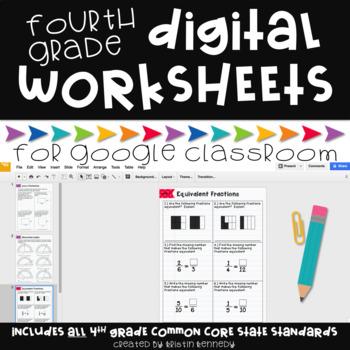 Digital Math Worksheets for Google Classroom: 4th Grade Common Core