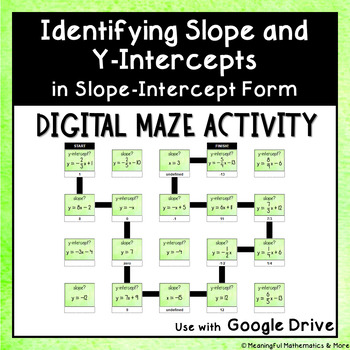 Digital Self Correcting Maze Activity: Identifying Slope & Y-Intercept