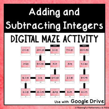 Digital Maze Activity: Adding and Subtracting Integers