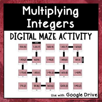 Digital Maze Activity: Multiplying Integers