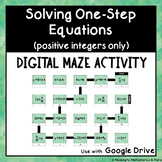 Digital Maze Activity: Solving One-Step Equations (Positive Integers Only)