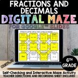 Digital Maze Fractions and Decimals Google Slides 6th Grad