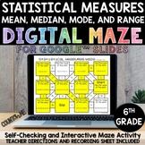 Digital Maze Statistical Measures Google Slides 6th Grade