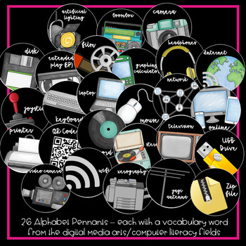 Digital Media Circle and Pennant Alphabet {cursive}