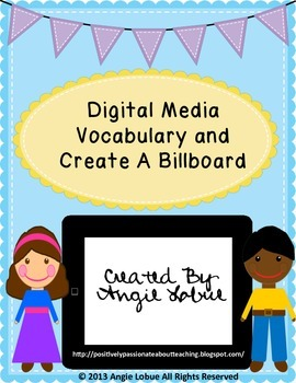 Digital Media Vocabulary, Create a Billboard Activity, and Rubric