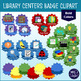 Library Centers Digital Menu or Tracker & Learning Badges {BOLD color badges}