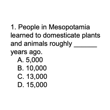 Digital Mesopotamian Agriculture Ancient History Multiple Choice Game Powerpoint