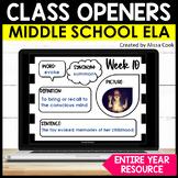 Digital Middle School ELA & Reading Bell Ringers | Google Classroom Morning Work