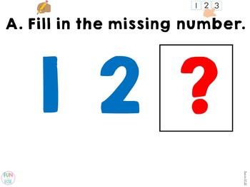 Digital Missing Numbers Center Activities