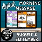 Digital Morning Meeting Slides | August September | Distan