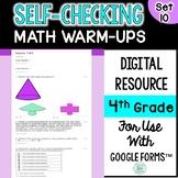 Digital Morning Work Self-Grading and Self-Checking Math Warm-Ups  4th Grade