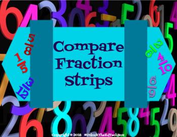 Digital Moveable Compare Fraction Strips Activity - Math Google Slides