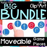 Digital Moveable Game Pieces Alphabet Bundle