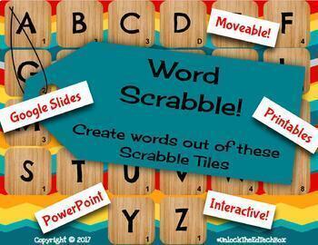Digital Moveable How many words  can you make out of these Scrabble Letters