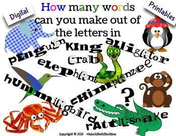 Digital Moveable How many words  can you make out of these words Writing
